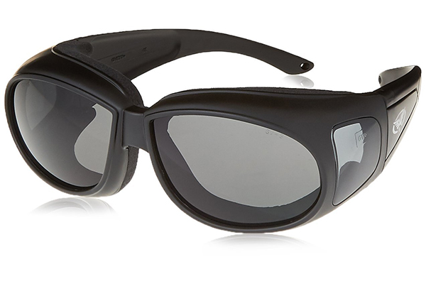 ec8a246a1d The Outfitter Motorcycle Glasses by Global Vision Eyewear can fit over prescription  glasses. The polycarbonate lenses (shatter-proof) have a UV400 filter ...